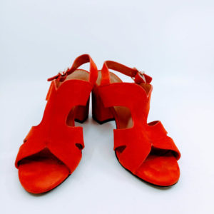 Red sandals with block heels