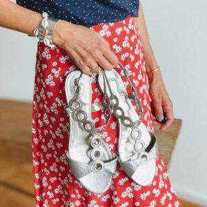 silver flat sandals Ash