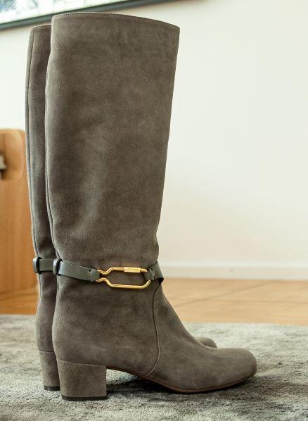 Grey knee boots